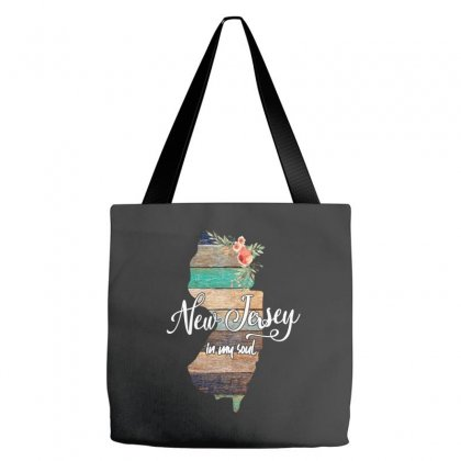 New Jersey Map For Dark Tote Bags Designed By Sengul