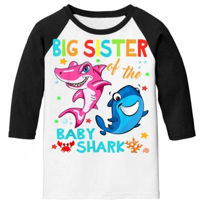 Big Sister Of The Baby Shark Youth 3/4 Sleeve Designed By Kakashop