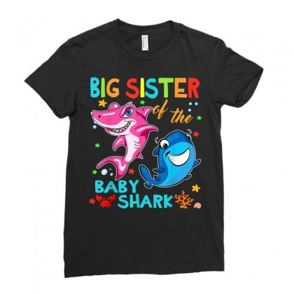 Big Sister Of The Baby Shark Ladies Fitted T-shirt Designed By Kakashop