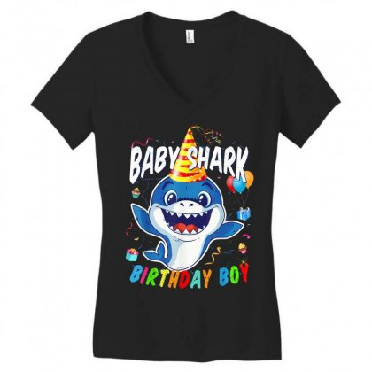 Birthday Boy Baby Shark Women's V-neck T-shirt Designed By Kakashop