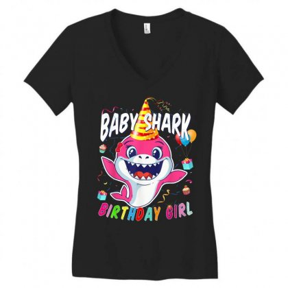 Birthday Girl Baby Shark Women's V-neck T-shirt Designed By Kakashop
