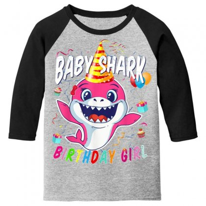 Birthday Girl Baby Shark Youth 3/4 Sleeve Designed By Kakashop