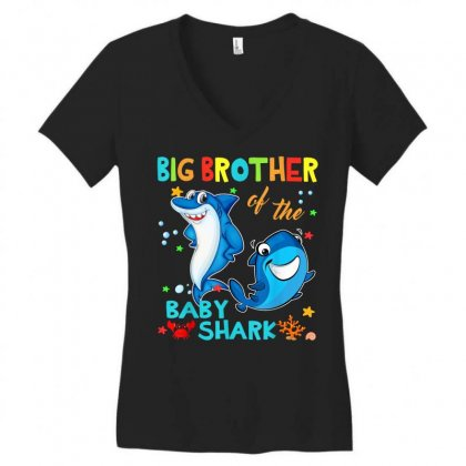 Big Brother Of The Baby Shark Women's V-neck T-shirt Designed By Kakashop