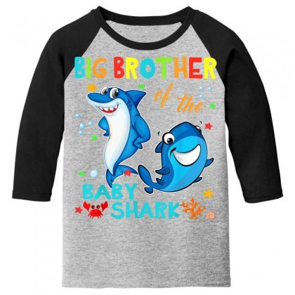 Big Brother Of The Baby Shark Youth 3/4 Sleeve Designed By Kakashop
