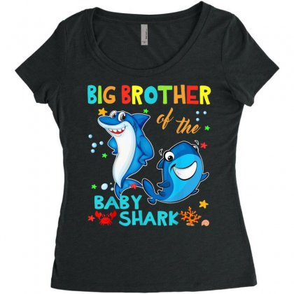 Big Brother Of The Baby Shark Women's Triblend Scoop T-shirt Designed By Kakashop