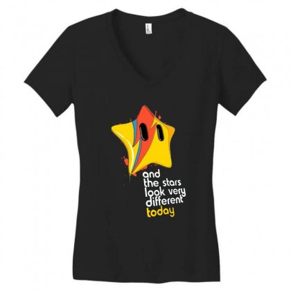 Stars Women's V-neck T-shirt Designed By Pinkanzee