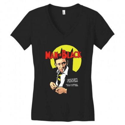 Man In Black Women's V-neck T-shirt Designed By Pinkanzee