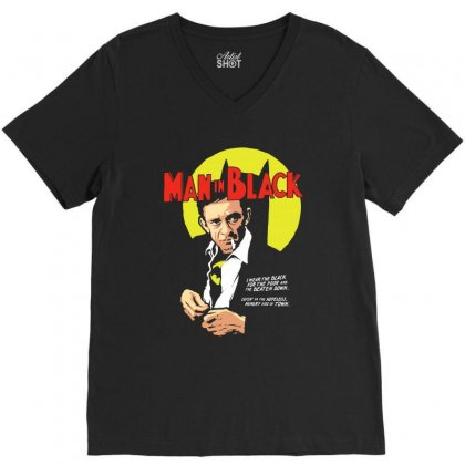 Man In Black V-neck Tee Designed By Pinkanzee