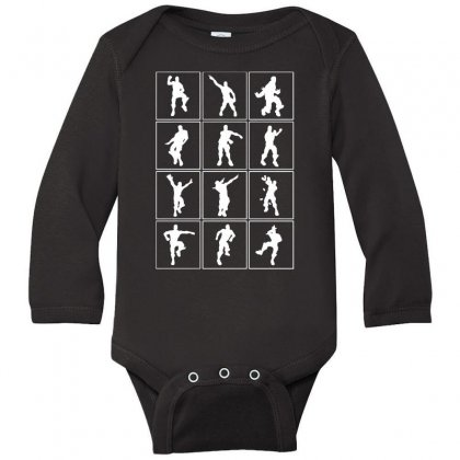 Funny Fortnite Emotes   White Long Sleeve Baby Bodysuit Designed By Pinkanzee