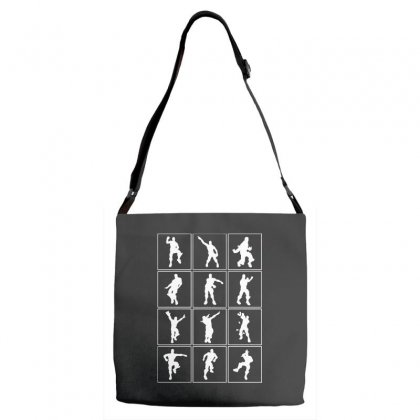 Funny Fortnite Emotes   White Adjustable Strap Totes Designed By Pinkanzee