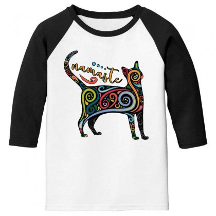 Funny Namaste Cat Yoga Meditation Youth 3/4 Sleeve Designed By Pinkanzee