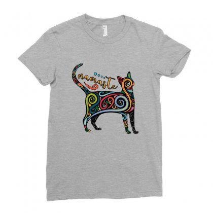 Funny Namaste Cat Yoga Meditation Ladies Fitted T-shirt Designed By Pinkanzee