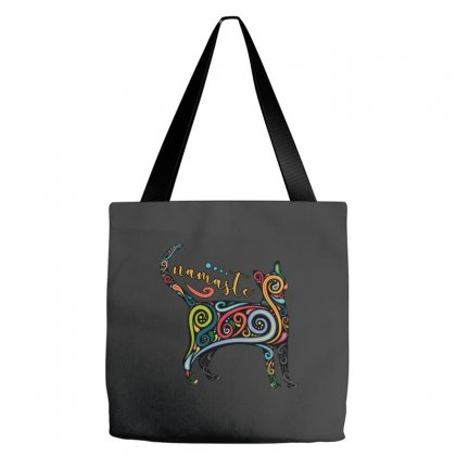 Funny Namaste Cat Yoga Meditation Tote Bags Designed By Pinkanzee