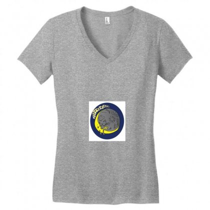 Moon Kiss Moon Women's V-neck T-shirt Designed By Samantha