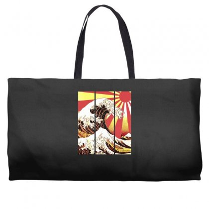 Surf In Japan (the Great Wave Off Kanagawa) Weekender Totes Designed By Aheupote