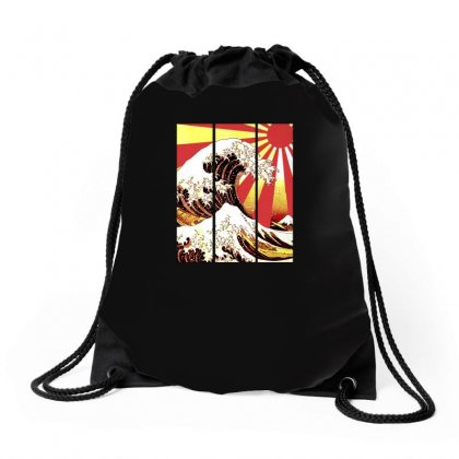 Surf In Japan (the Great Wave Off Kanagawa) Drawstring Bags Designed By Aheupote