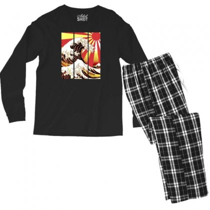 Surf In Japan (the Great Wave Off Kanagawa) Men's Long Sleeve Pajama Set Designed By Aheupote