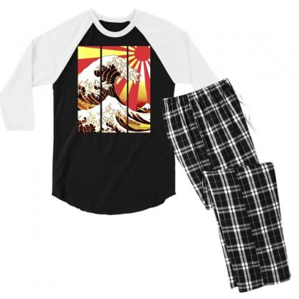 Surf In Japan (the Great Wave Off Kanagawa) Men's 3/4 Sleeve Pajama Set Designed By Aheupote