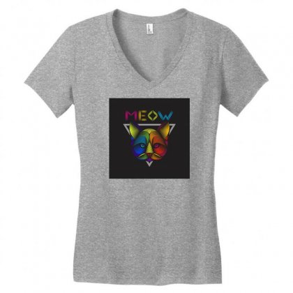 Meow Women's V-neck T-shirt Designed By Arabi
