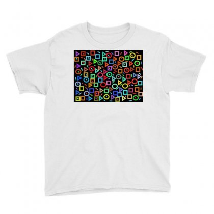 Multi Colors Geometry On Black Youth Tee Designed By Kayanphoto