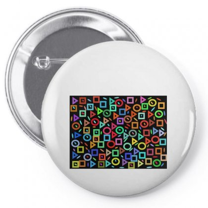 Multi Colors Geometry On Black Pin-back Button Designed By Kayanphoto