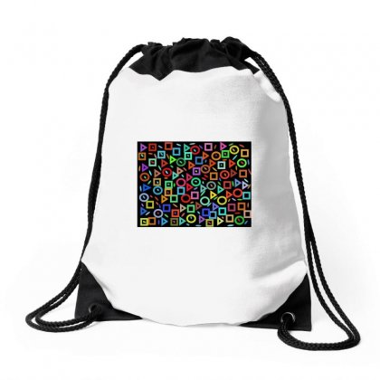 Multi Colors Geometry On Black Drawstring Bags Designed By Kayanphoto