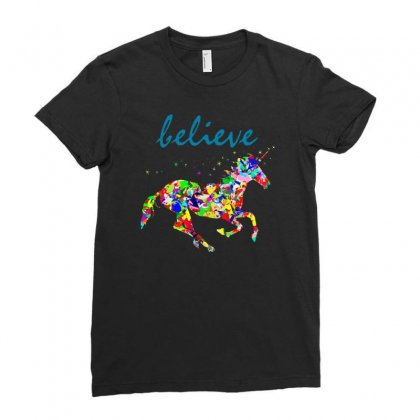 Believe Ladies Fitted T-shirt Designed By Mirazjason