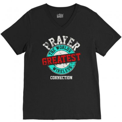 The Worlds Greatest Wireless Connection V-neck Tee Designed By Mirazjason