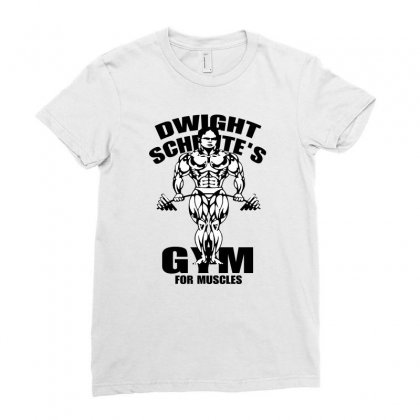 Dwight Schrute's Gym For Muscles Ladies Fitted T-shirt Designed By Pinkanzee