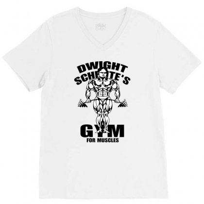 Dwight Schrute's Gym For Muscles V-neck Tee Designed By Pinkanzee