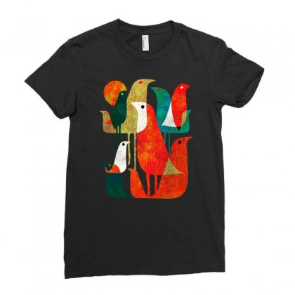 Birds Ladies Fitted T-shirt Designed By Pinkanzee