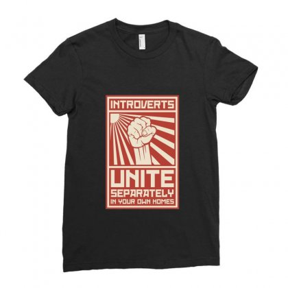 Introverts Unite Ladies Fitted T-shirt Designed By Peri