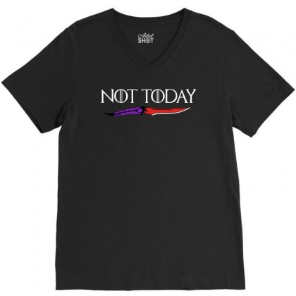 Not Today V-neck Tee Designed By Pinkanzee