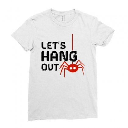 Halloween Spider   Let's Hang Out Ladies Fitted T-shirt Designed By Pinkanzee