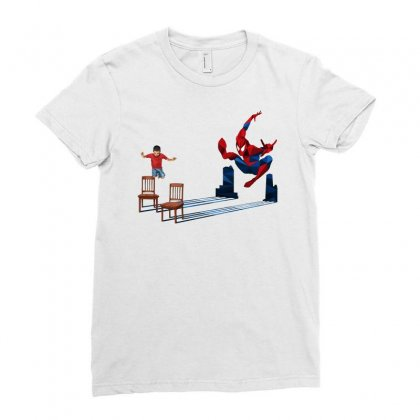 We All Jump And Hit Like Spider Ladies Fitted T-shirt Designed By Pinkanzee