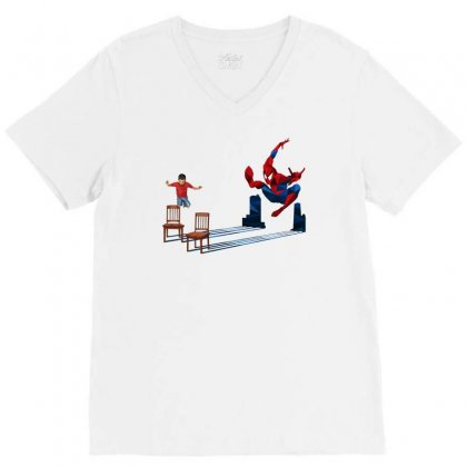We All Jump And Hit Like Spider V-neck Tee Designed By Pinkanzee