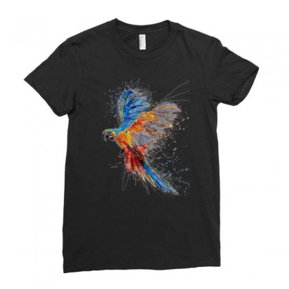 Parrot Birds Splash Ladies Fitted T-shirt Designed By Pinkanzee