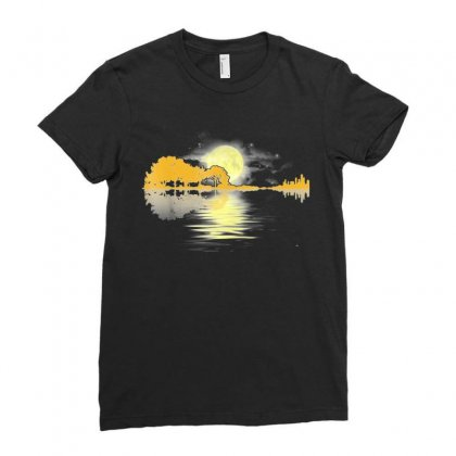 Guitar Lake Shadow Love Guitar T Shirt Ladies Fitted T-shirt Designed By Nhan