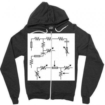 Electronic Circuit Sign Pattern Zipper Hoodie Designed By Kayanphoto