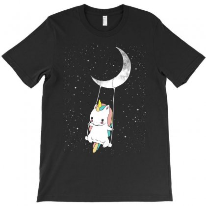 Cute Unicorn Swinging In Front Of The Moon T-shirt Designed By Toweroflandrose