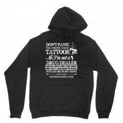 dont panic   yes i know i have tattoos t shirt Unisex Hoodie | Artistshot