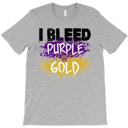 I Bleed Purple And Gold T Shirt Finger Paint Distressed Look T-shirt Designed By Nhan
