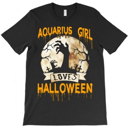 Halloween Costume This Aquarius Girl Loves Halloween T-shirt Designed By Twinklered.com