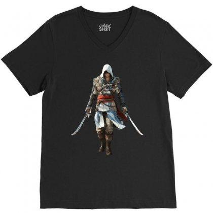 Assassins Creed Edward Kenway V-neck Tee Designed By Yahya Souhail