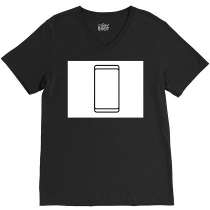 Empty White Screen Smartphone V-neck Tee Designed By Kayanphoto
