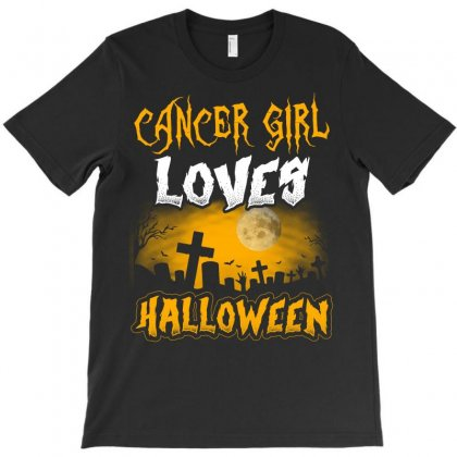 Halloween This Cancer Girl Loves Halloween T-shirt Designed By Twinklered.com