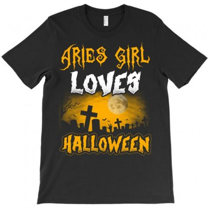 Halloween This Aries Girl Loves Halloween T-shirt Designed By Twinklered.com