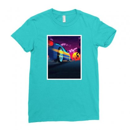 Outrun Retrowave Merch Ladies Fitted T-shirt Designed By Willo