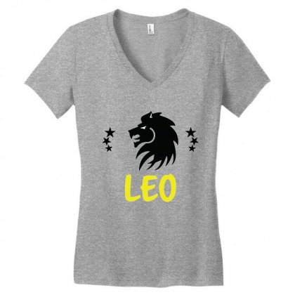 Leo Zodiac Women's V-neck T-shirt Designed By Emardesign