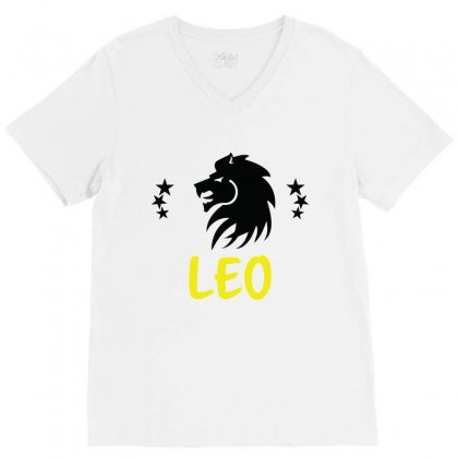 Leo Zodiac V-neck Tee Designed By Emardesign